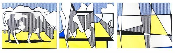 Cow Going Abstract (Triptych) Roy Lichtenstein 824-826