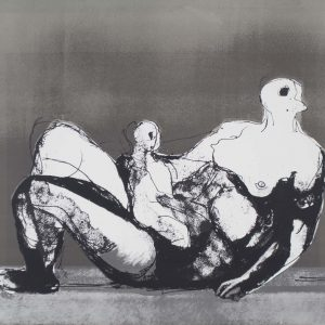 Henry Moore Reclining mother and child with grey background 163