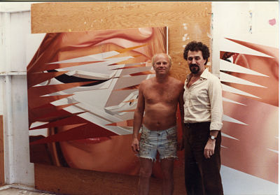 James Rosenquist and Lazo Vujić in his studio in Florida.